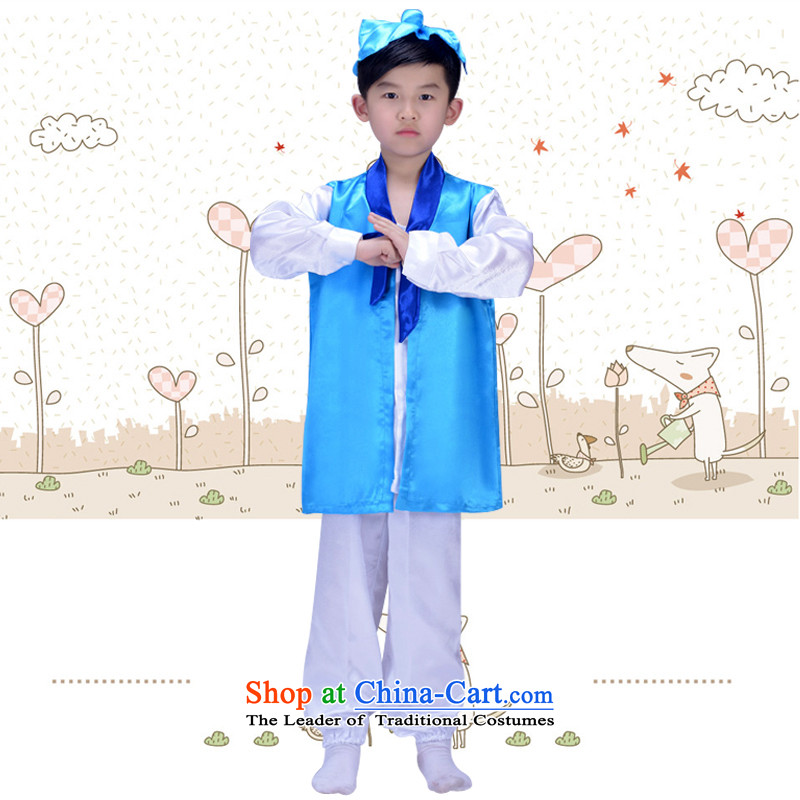 With the Chinese classics clothing children will Han-child care regulation male disciples Neo-confucian show girls three Field Service Books child costumes blue wireless lap of 160cm