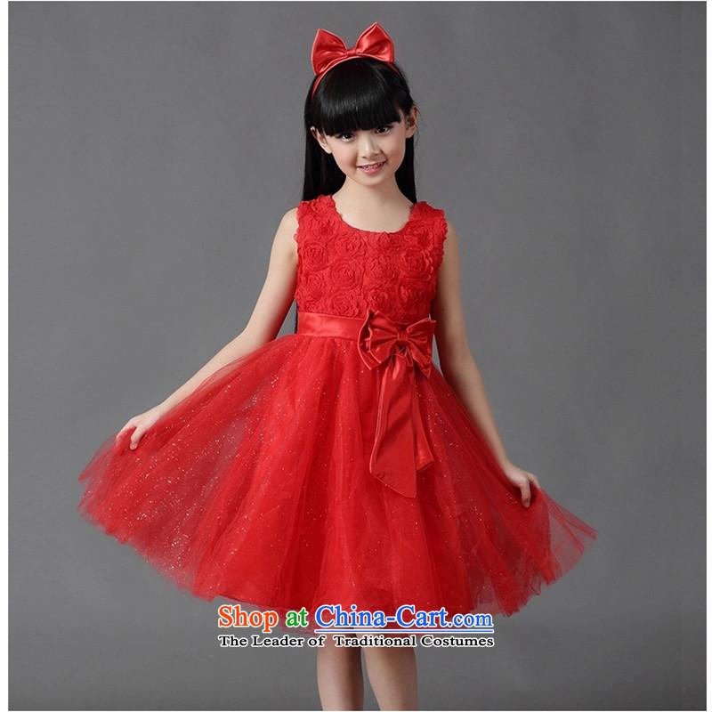 Girl children's wear dresses princess skirt Summer Children women show dress bon bon white wedding dress owara red170cm/ 155-165cm recommended height