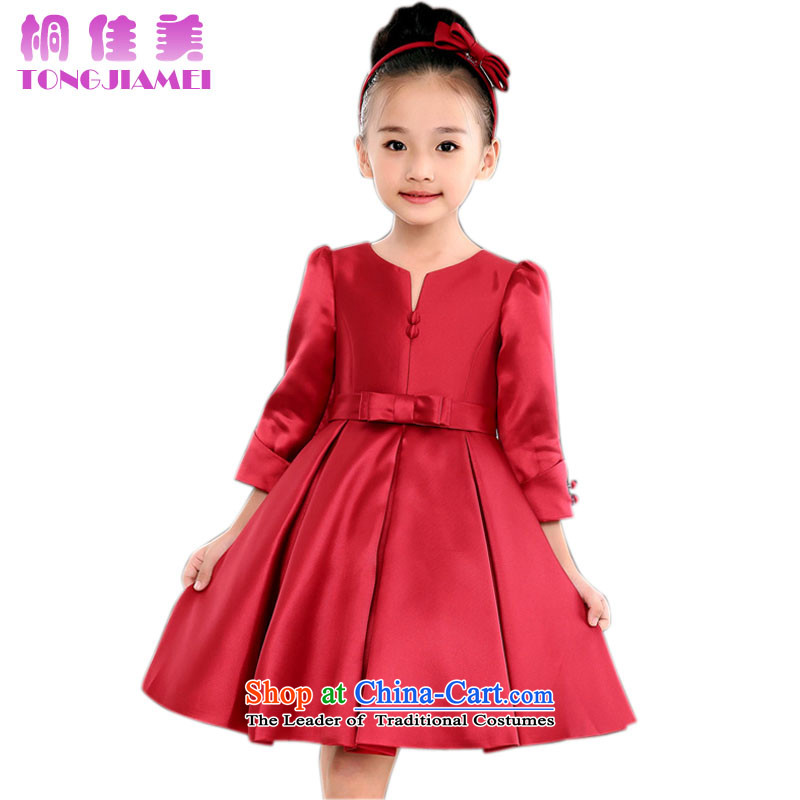The Zaytun Unit Jia Mei 2015 autumn and winter new products girls dress skirt red princess skirt wedding flower girls show bon bon skirt deep red 110