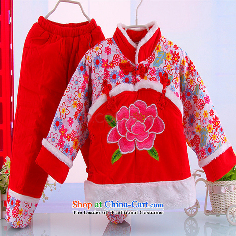 The girl child for winter Tang dynasty female babies robe kit children for winter sets New year red stripes kit infant garment aged 2-3 Red 100