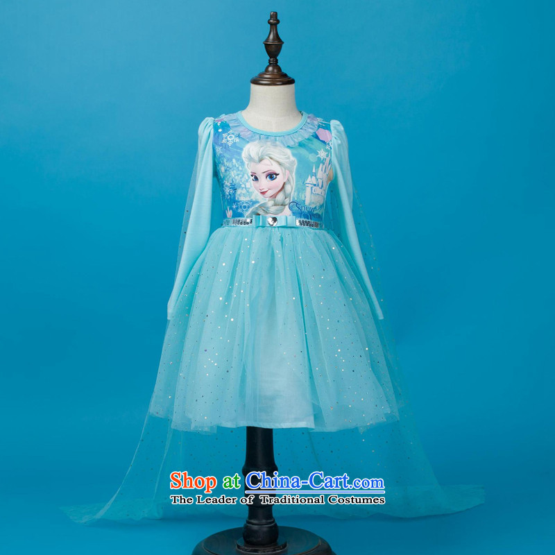 America than M Leung ice and snow Qi Yuan Aicha Queen dress Girls fall inside the shirt skirts Halloween children's clothing Aisha Princess skirt skirts + crown magic wand + Braid聽140