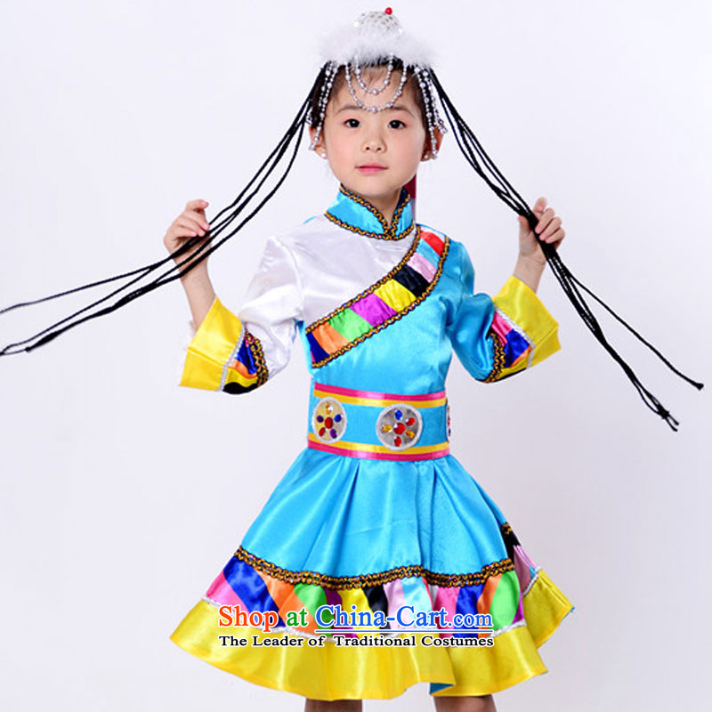 Will dance to minority children costumes will unveil Mongolian dance Blue 130cm Tibetan