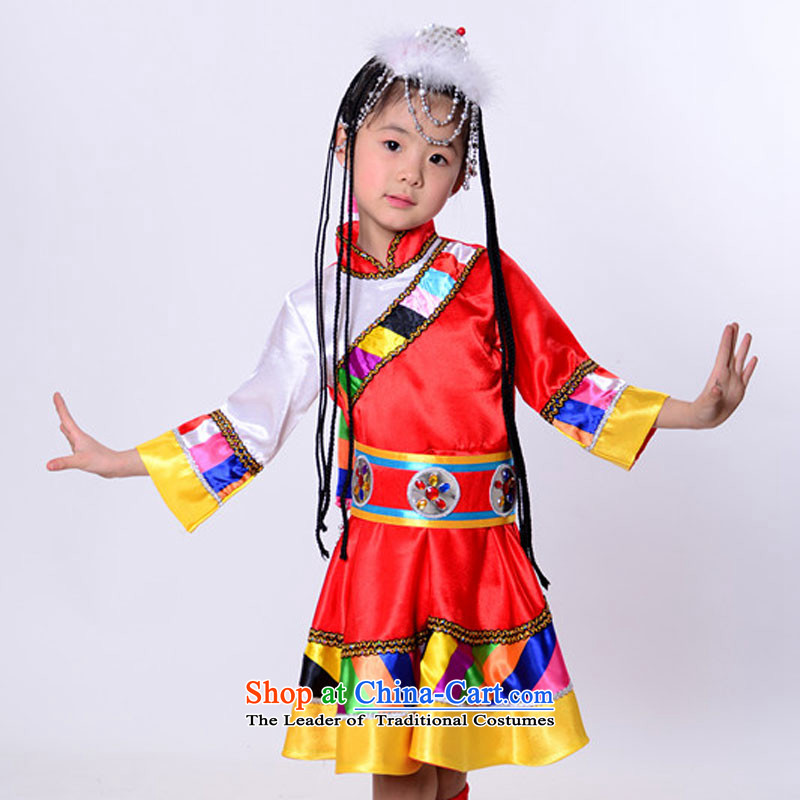 Will dance to minority children costumes will unveil Mongolian dance blue 130cm, Tibetan-leather case package has been pressed shopping on the Internet