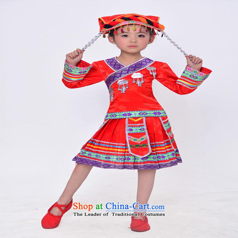 Will dance to children of Yao dance wearing Yunnan ethnic minority girls Tujia-miao wa red160cm