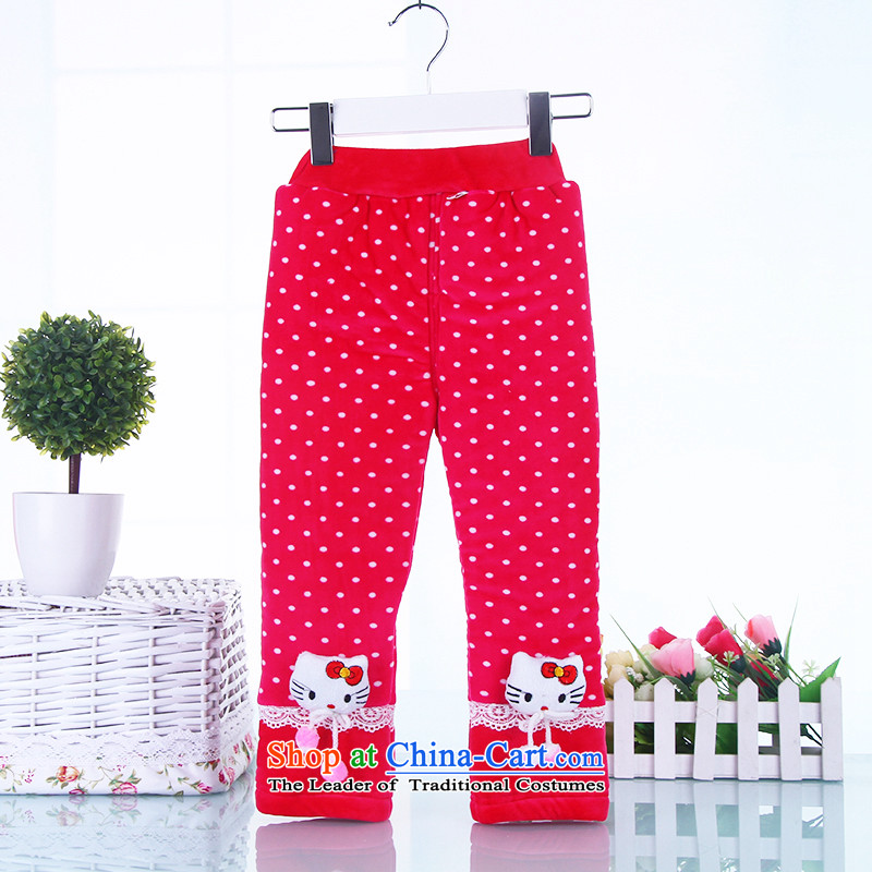 The new child baby girl babies warm trousers press the woolen pants female casual pants girls leisure cartoon100cm(100cm) red trousers