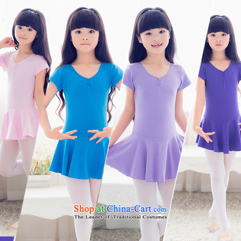 The cries of dance performances to serve girls exercise clothing short-sleeved Summer early childhood performances ballet skirt cotton gymnastics services Lake Blue 150cm