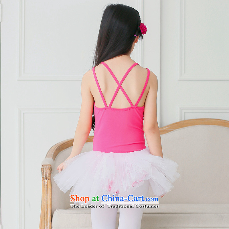 Children dance performances to serve ballet girls short-sleeved dance exercise clothing early childhood ballet skirt bon bon skirt strap dress in the red-white yarn 150cm, adjustable leather case package has been pressed shopping on the Internet