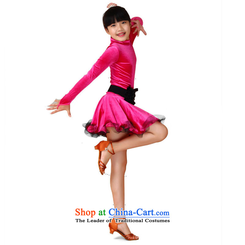 Children will dance to Latin dance skirt autumn Latin dance serving children exercise clothing child maids bon bon skirt the red?150cm