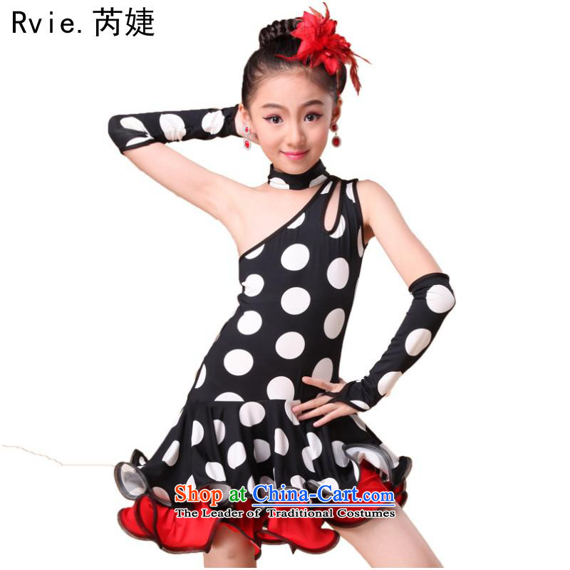 The spring and summer new children serving Latin dance costumes and female exercise clothing dance skirt children will white dot S
