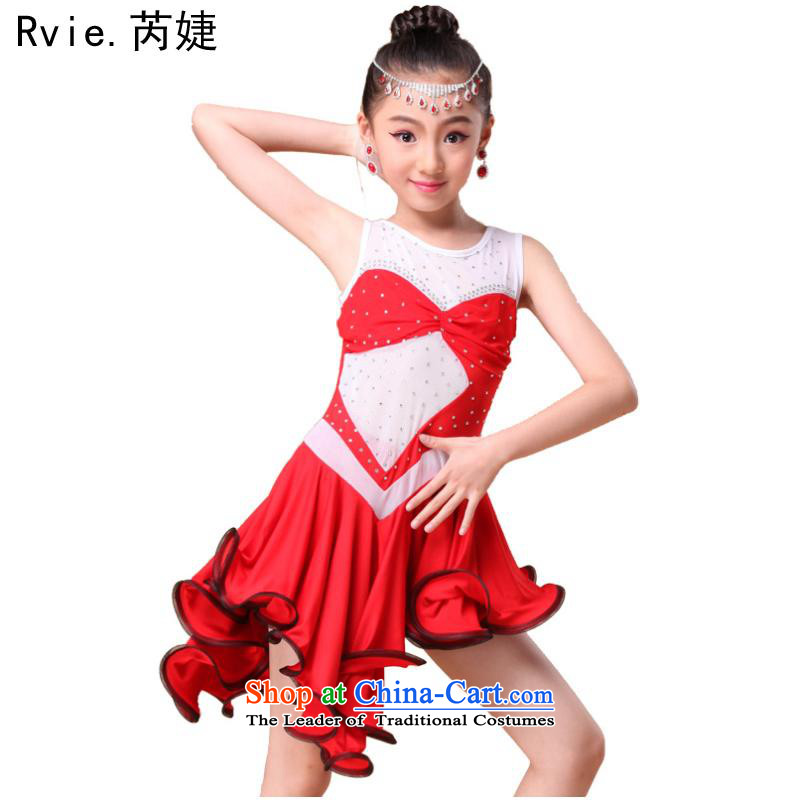 The spring and summer of 2015 new products children Latin dance skirt will children by professional dancers fit drill performance service with large red聽XL