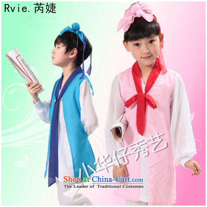 Children's entertainment dress will children Han-girls three character costumes and boys nunnery will Blue 140cm