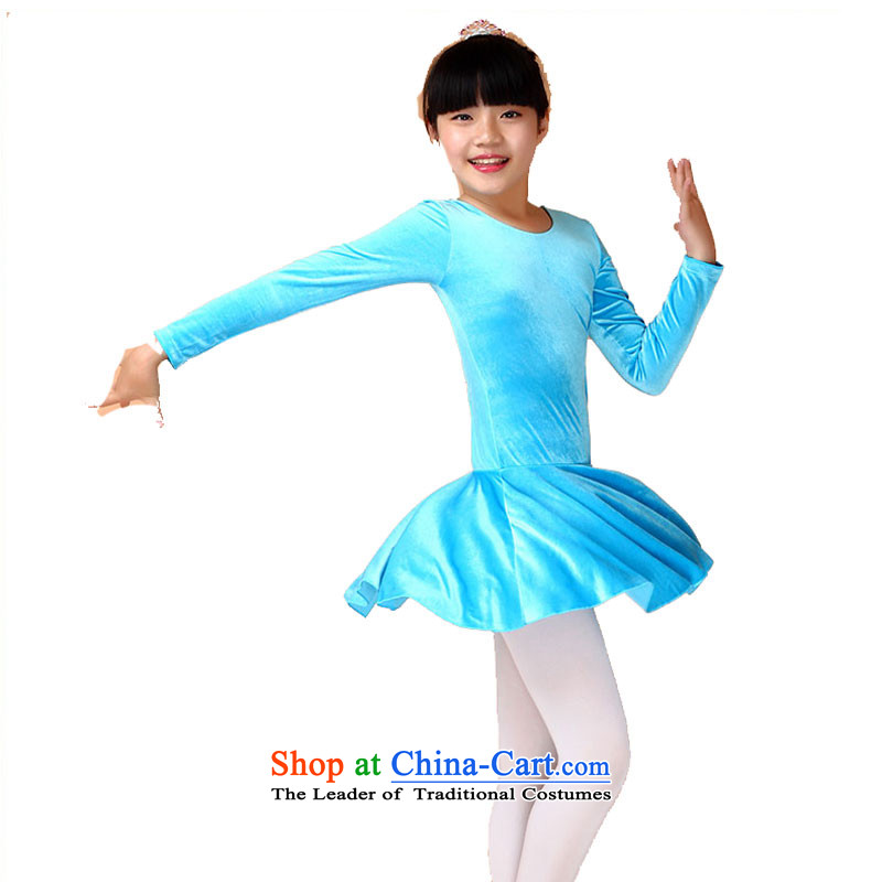 Children Dance services costumes girls long-sleeved cotton in summer, autumn and winter exercise clothing to the cries of the service-level Blue 160cm