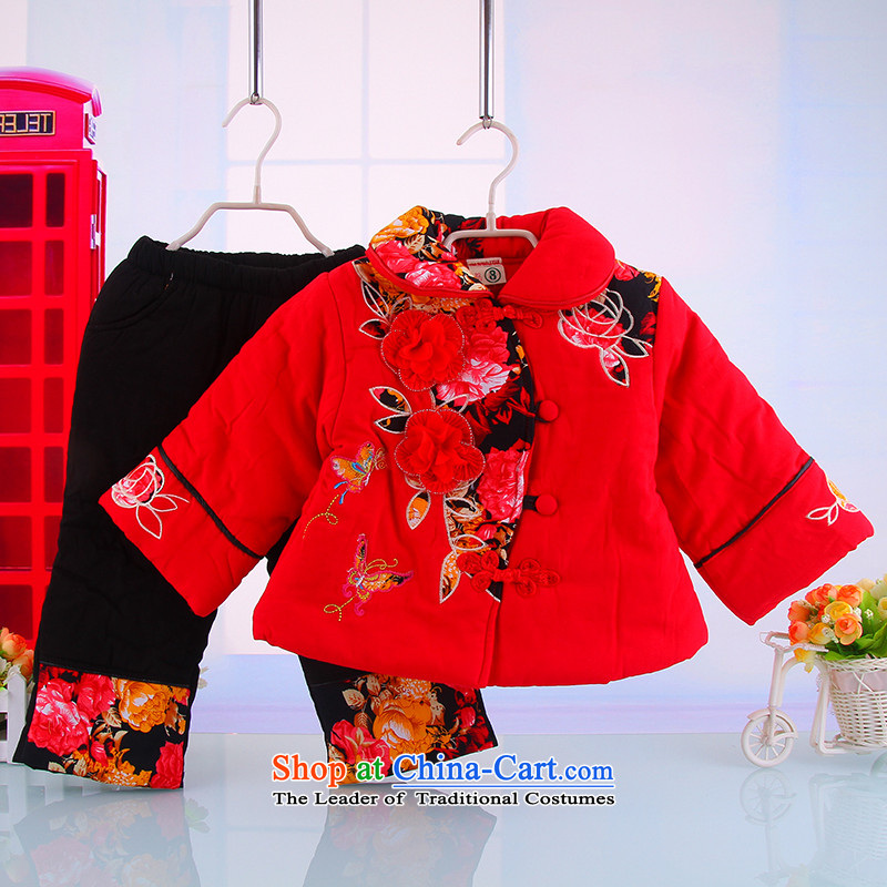 Winter new women's baby children aged 1-2-3 warm out service Tang dynasty long-sleeved thick warm pure cotton two kits CHILDREN SETS Red 100