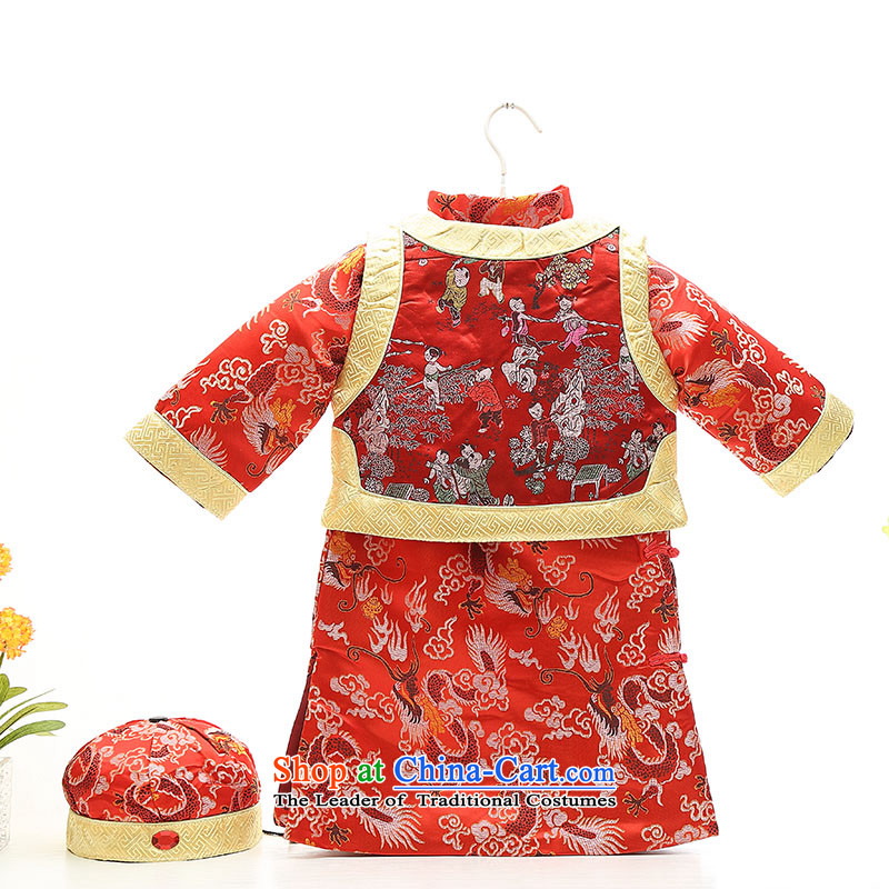 Tang Dynasty infant boys under the age of your baby dress autumn and winter, and load folder cotton robes of the dragon, boy children-style robes Tang Red 110