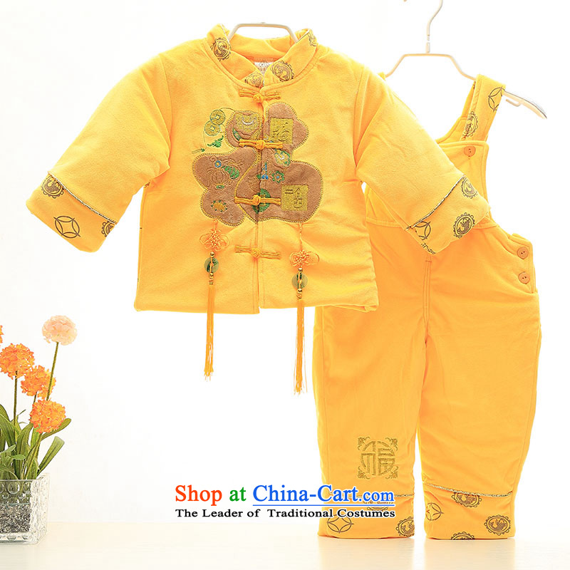 The baby out to fleece 茫镁貌芒 winter, boys and girls alike baby jumpsuits聽0-1-2 Kit-year-old festival Tang dynasty two kits red and yellow Palace Wong聽90