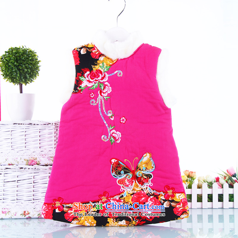 Winter children qipao autumn and winter girls aged 2-3-4-5 Tang dynasty qipao baby new clip cotton Chinese classic skirt infant New Year Service Red130