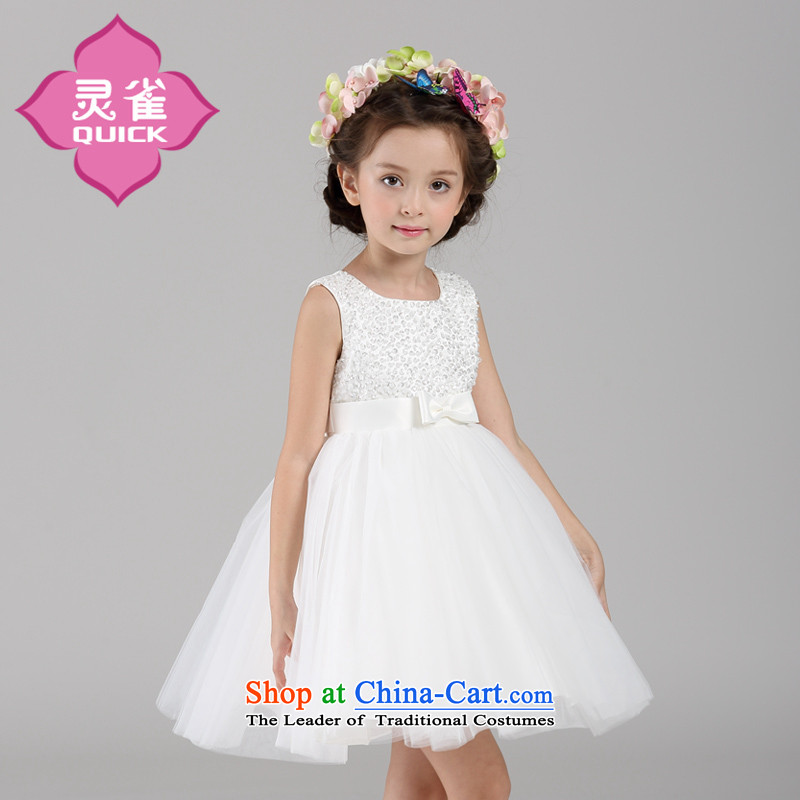 2015 New Flower Girls Princess dress skirt sleeveless small girls bon bon will White聽140