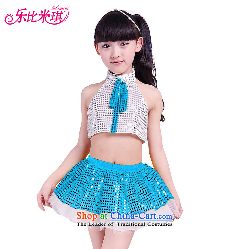 America than M Leung Christmas day children costumes dance jazz dance dance piece on early childhood services skirt to boys and girls show service kit male blue white trousers 160