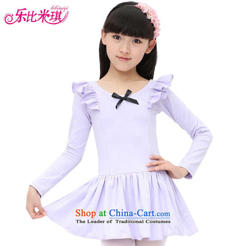 America than M Leung children exercise clothing girls costumes ballet skirt choral dance performances by the autumn of services such as pure cotton show long-sleeved clothing purple 130