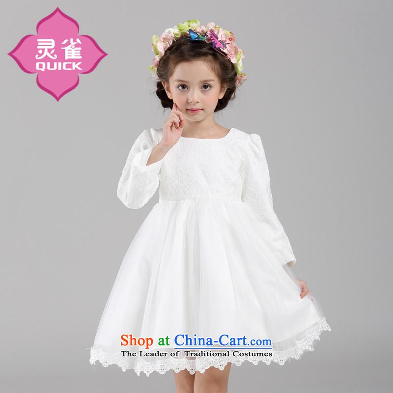 The spirit of long-sleeved princess fall birds dress skirt children bon bon will fall on the little girl dresses White120