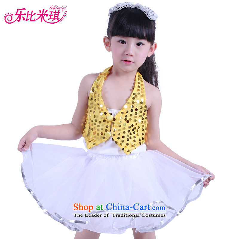 New Year's children will girls three piece theatrical performances clothing child care modern dance on film costumes yellow 130