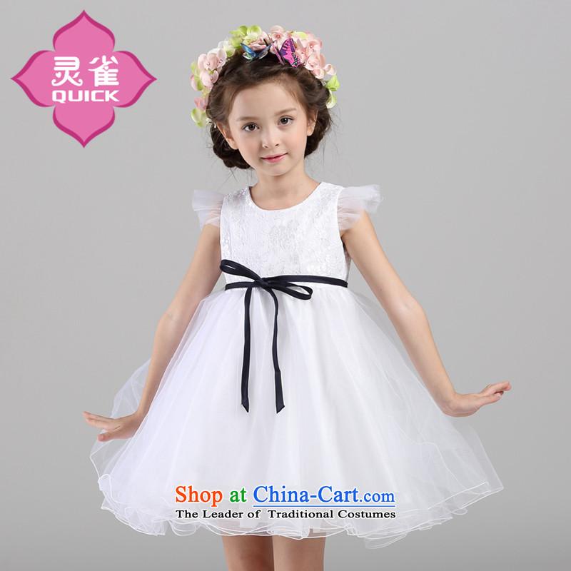 The spirit of the new girls birds princess dress skirt children bon bon will summer dresses white LQ15139 130
