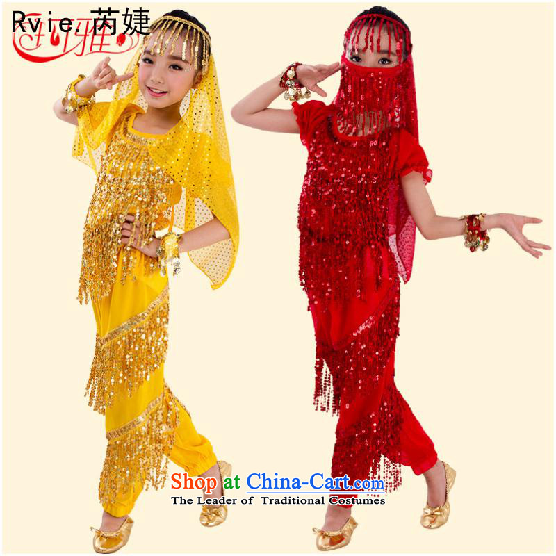 Children belly dance performances to Service Pack 61 Dance service lights are short-sleeved children edging Kit Yellow 2-piece XL