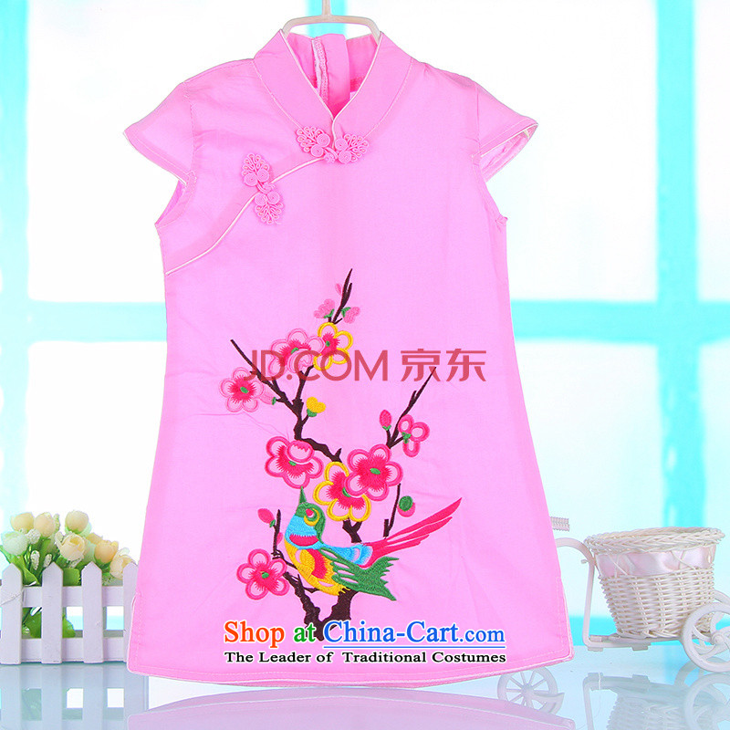 The spring and summer new child cheongsam dress classical girls baby girl children Tang dynasty large children's wear costumes 4692nd rose100