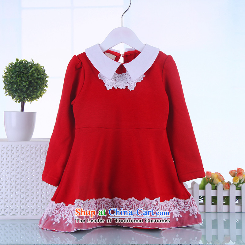 Autumn and winter girls dresses 2-3-4-5 winter-year-old girl fall inside the skirt autumn and winter Princess fall skirts children skirt female baby girl in winter waistcoat Red140