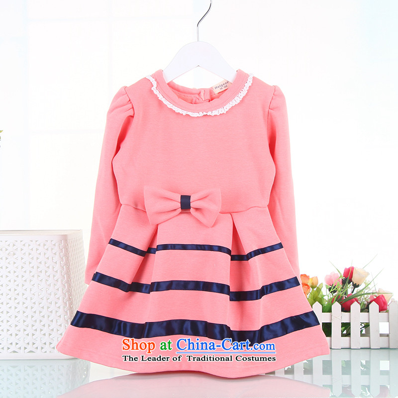 The girl child, autumn and winter new dresses, Korean children aged 3-4-5-6 long-sleeved baby autumn and winter, the girl child and of children's wear dresses and lint-free Korean Thick Pink 110