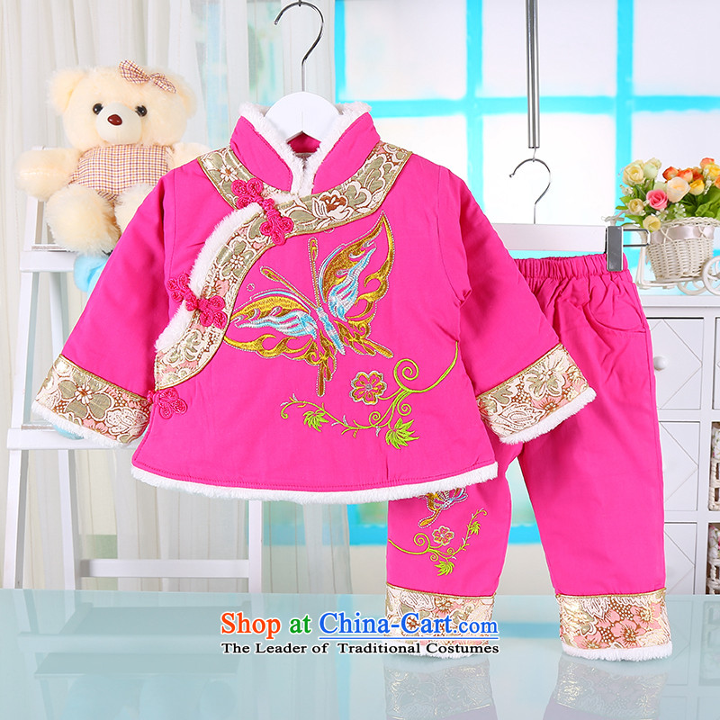 The girl child with cotton-tang China wind-old baby girl with 1-2-3-year-old girl Tang baby thick winter jackets with the Red 100
