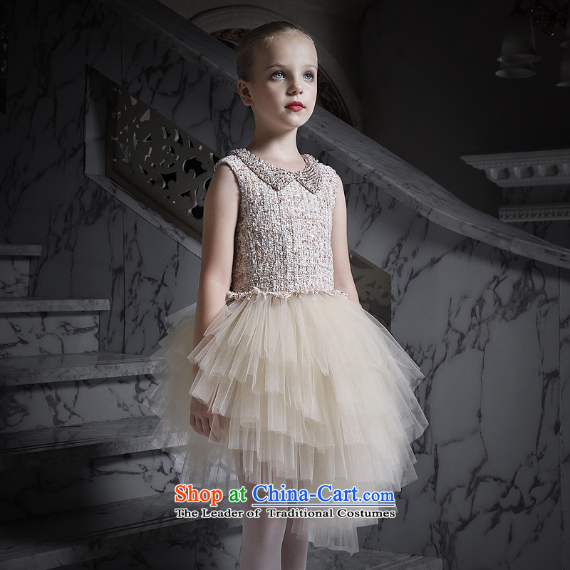 Love of Ko Yo Girl New 2015 princess skirt dress will children dance skirt Flower Girls skirt evening dress champagne color 160