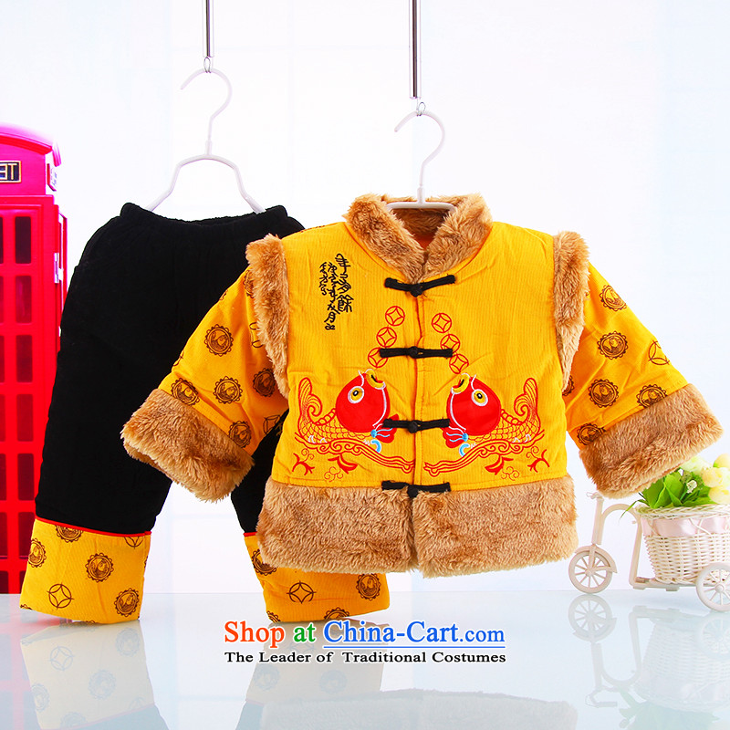 Tang Dynasty infant boys baby dress autumn and winter, and load folder cotton robes of the dragon, boy children-style robes Tang Dynasty Thick Yellow 73(73) Kit