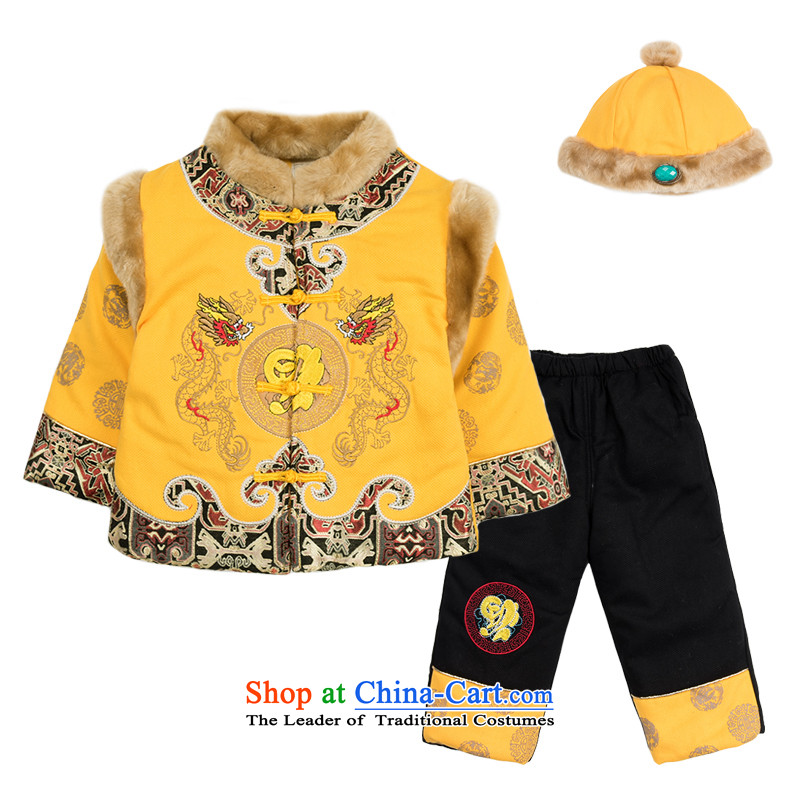Child Lok Wei winter clothing new boys thick cotton-Tang Dynasty Chinese two kits 0-3 years New Year baby Kit Yellow 100