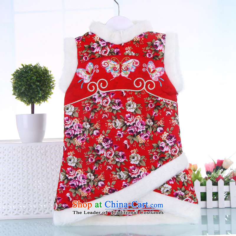 The autumn and winter replacing Tang dynasty qipao girl children CUHK child Tang dynasty little girl cheongsam dress your baby cheongsam Red 100