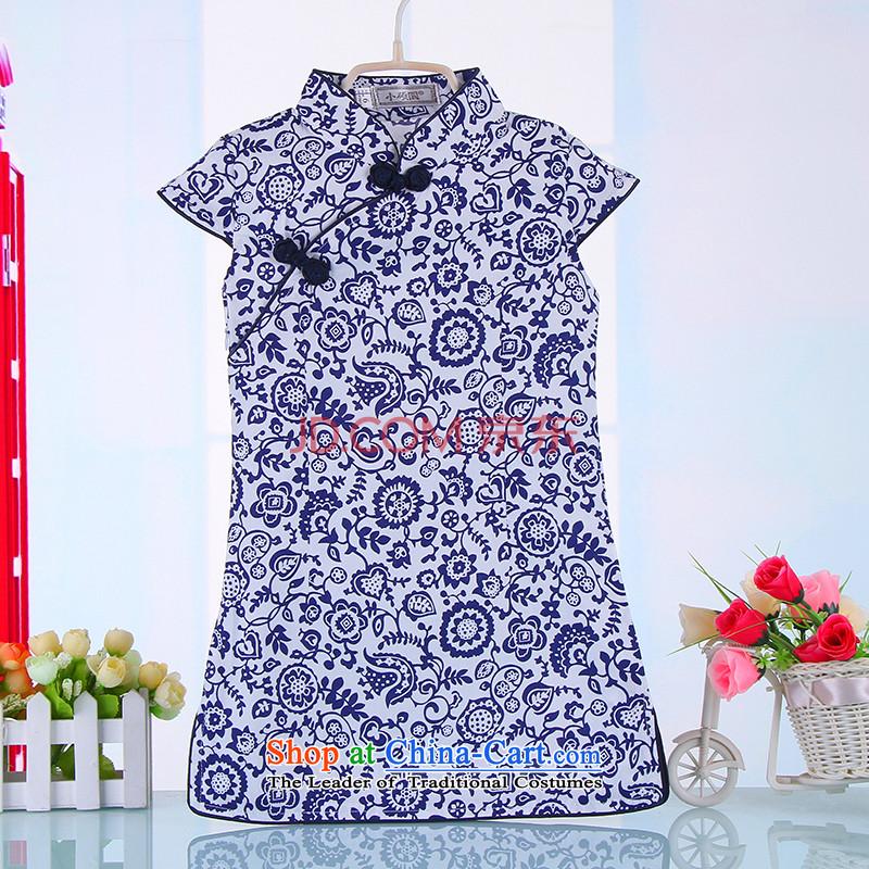 The girl child qipao new summer children cheongsam dress pure cotton guzheng pieces will spend140 black skirt