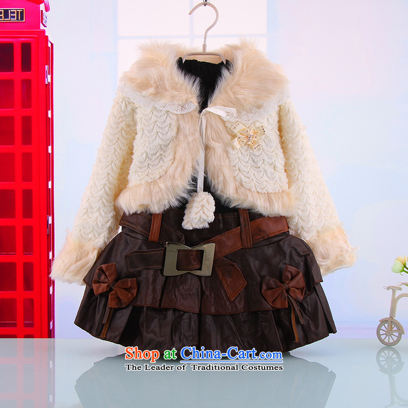 Autumn and Winter, female babies outdoor kit skirt warm thick 2-3-4-5-6 years two kits and the new girls princess skirt White聽120
