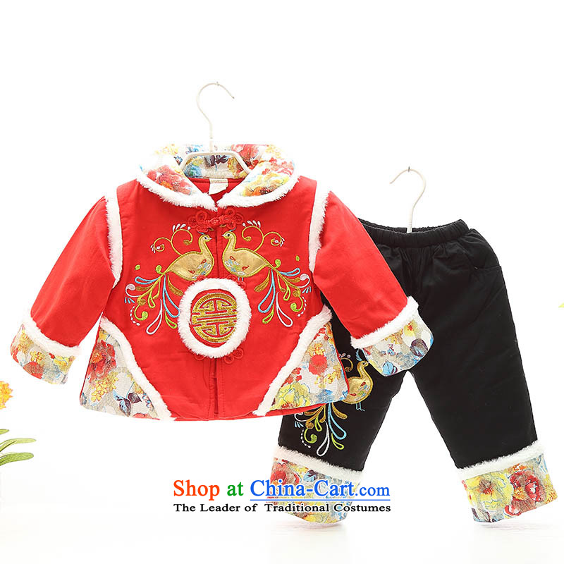 New Year Infant Tang dynasty 茫镁貌芒 girls聽0-1-2-3 jackets with year-old female babies thick winter clothing infant and child age children's wear dress clothes Red聽100