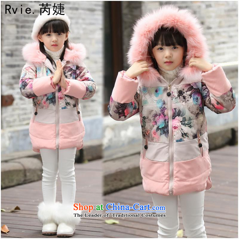 The girl child ãþòâ 2015 winter clothing new Korean children long jacket CUHK child cotton flowers cotton coat pink 120-160 Code 1 hand 5