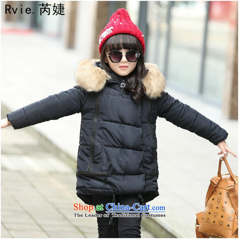 Cotton Coat2015 winter of child new girls ãþòâ Korean thick cotton clothing girls receive nagymaros in long coat black120cm
