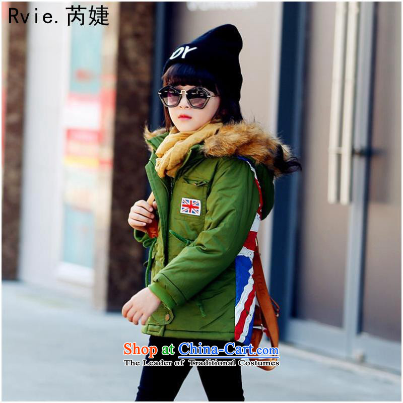 The foreign trade of children's wear under the2015 autumn and winter, boys and girls alike ãþòâ Korean Flag field in the m long children ãþòâ cotton coat Army Green - women's130 code