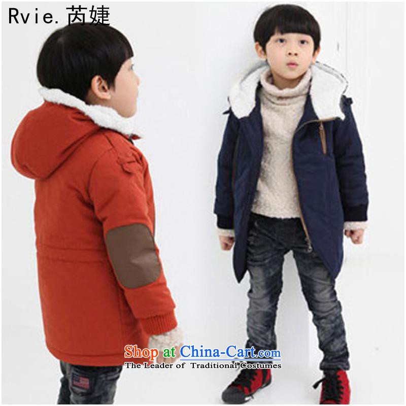 Children's wear聽winter 2015_ Child 脙镁貌芒 Korean thick cotton lint plus the boy child cotton coat coats of CUHK orange - The lint-free聽130cm