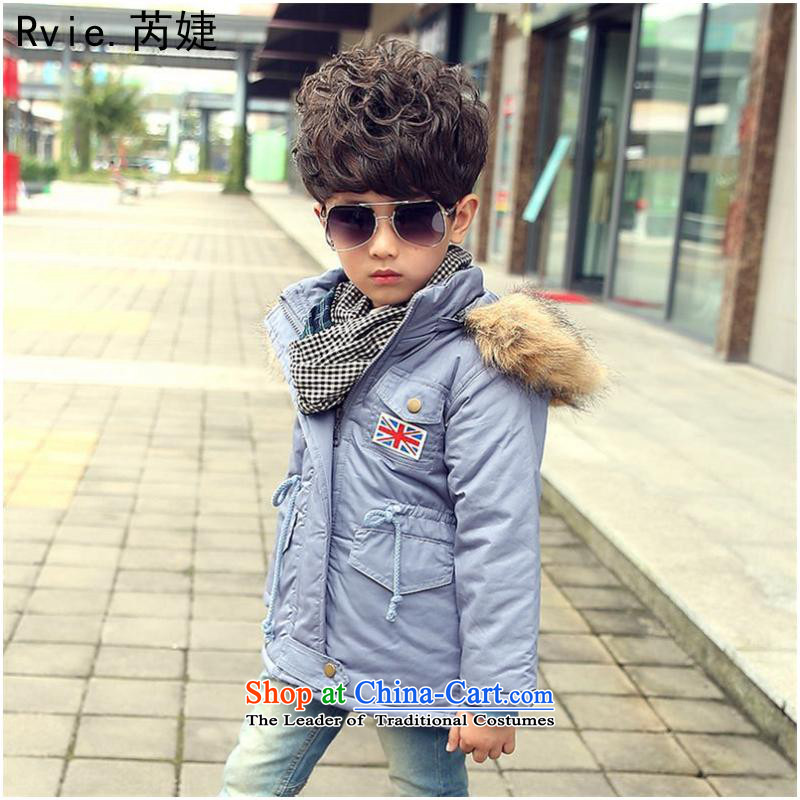 The Korean versionof the new winter 2015 children's wear, 4-10 years old) girls cotton winter in long m Field Flag' cotton blue and gray - men120 code
