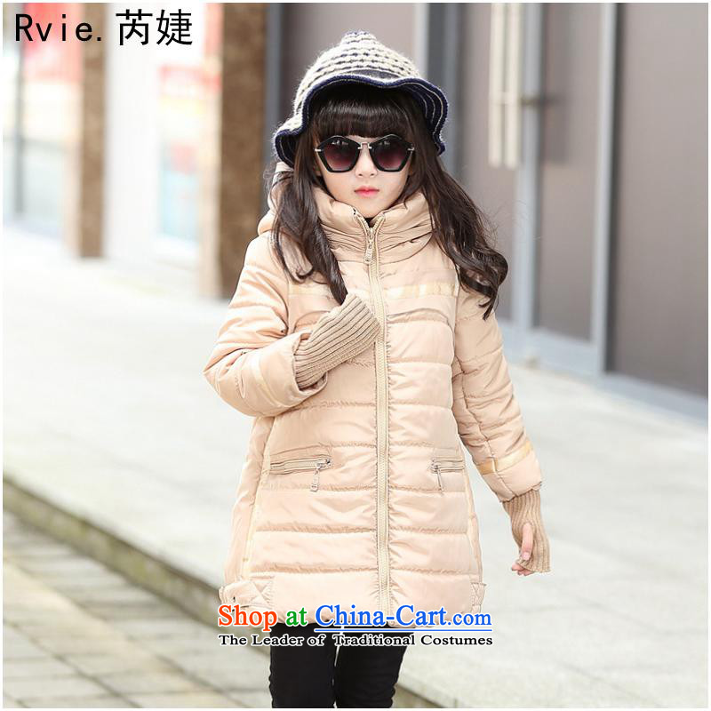 Children's Wear girls winter 2015 cotton swab to Korean children version girls CUHK child with cap robe jacket apricot color code 1 to 5 120-160.