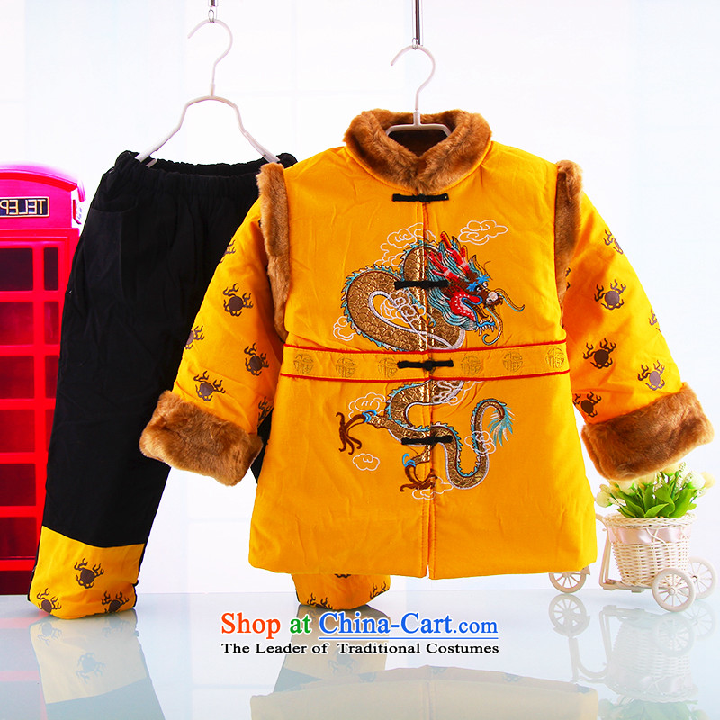The baby boy Tang dynasty new children's wear cotton clothing infant and child aged 1-2-3-4-5-6 Kit-thick winter clothing New Year Children Tang dynasty yellow聽120