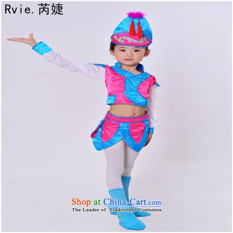 Grassland thoroughbred small children dance performances by the Mongolian services serving girls grassland style styling services Pink 150cm