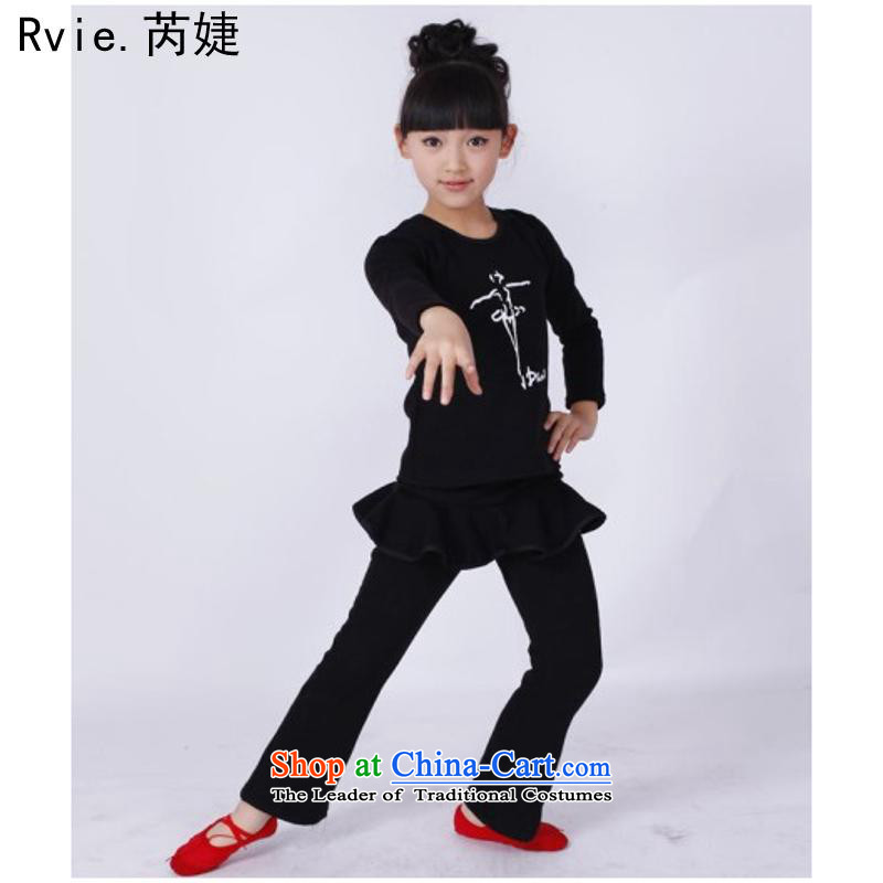 The new Child Latin services far fewer girls and children fall and winter long-sleeved Latin dance skirt exercise clothing services will show black�120cm