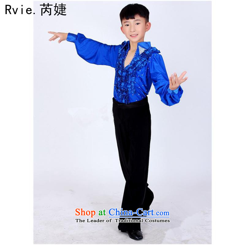 2015 new boys Latin dance performances to serve children ballet exercise clothing modern dance performances to dark blue game 140cm