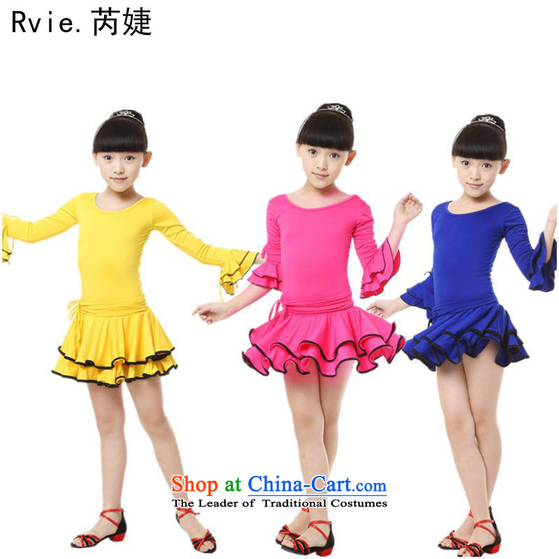 Children long-sleeved Latin Dance Dance skirt will ballet exercise clothing girls Dance Dance services serving the blue 170 gymnastics