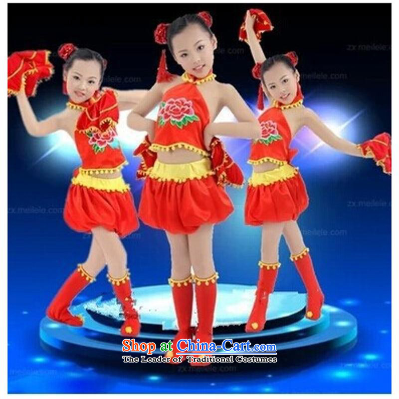 Children dance performances to poverty that girls performance of ethnic dances services for children with Hanji, handkerchief festive lanterns yangko services red聽160cm